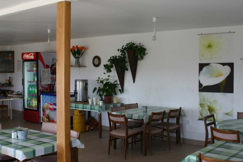 We have a 60-seat restaurant on site which offers simple food and drinks.